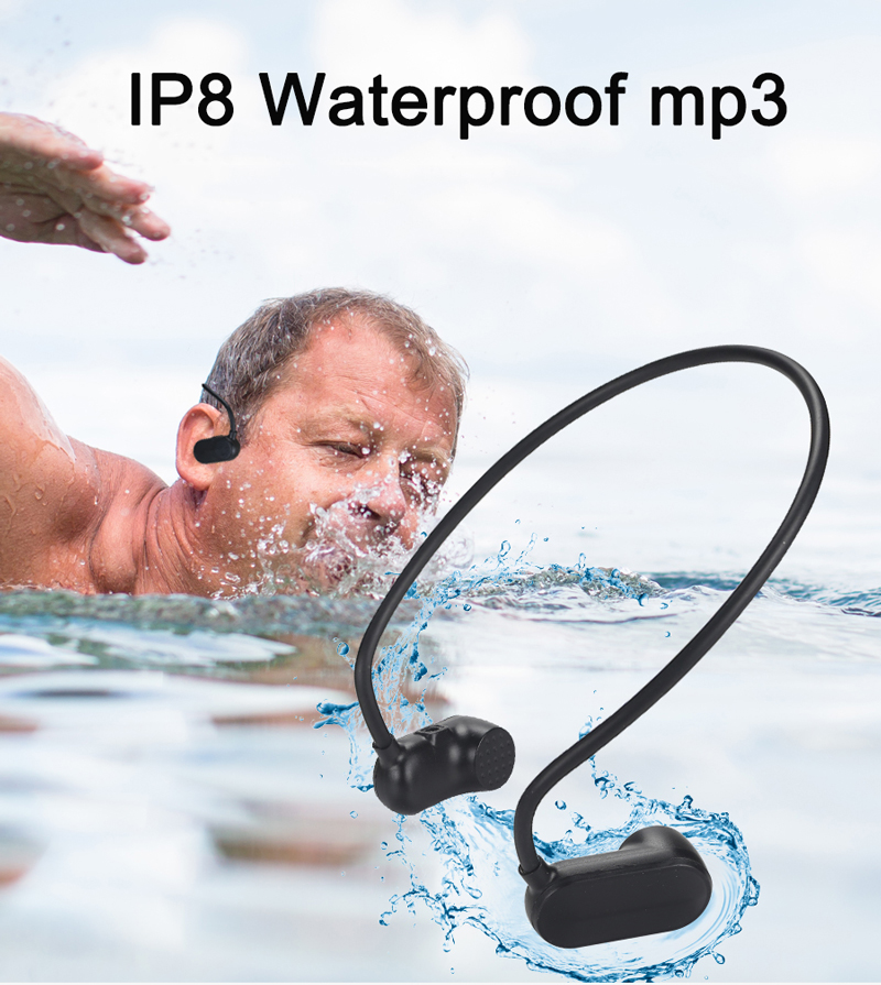 IPX8 100% Waterproof MP3 Underwater Sports Swimming Bone Conduction APT-X Bluetooth Headphone IP68 MP3 With For Swimming  Diving