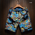 2016 New Summer Fashion Casual Male Plus Size Floral Print Board Shorts Beach Shorts Cotton Linen
