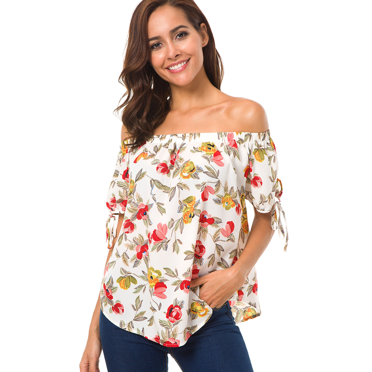 2aa5fde82a3 2018 Новое поступление  Летнее Для женщин блузки рубашки Мода Slash шеи женщина  шифоновые блузки Повседневное
