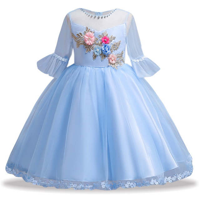 Новый элегантный дети с цветочным рисунком для девочек платье принцессы с вышивкой для Нарядные платья для девочек детское рождественское платье костюм для девочек 9 10 лет