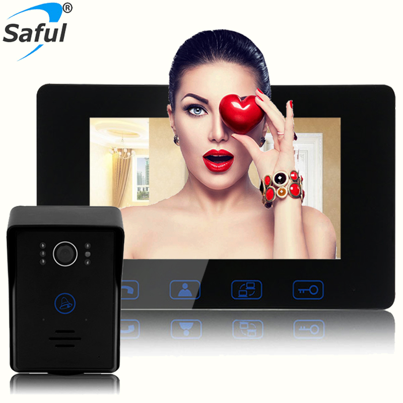 Saful 7 Wired Color Video Door Phone Door Bell Intercom System with IR Night Vision Camera Outdoor Monitoring Support Unlock hotsale wire video door phone intercom system 7inch hd screen with night vision rfid outdoor camera video door phone villa metal