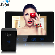 Sale Saful 7″ Wired Color Video Door Phone Door Bell Intercom System with IR Night Vision Camera Outdoor Monitoring Support Unlock
