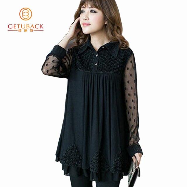 Women Blouses 2016 Summer Chiffon Plus Size 5XL Summer Blouse Long sleeve Lace KB763