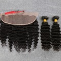 7A Orelha a Orelha Rendas Frontal 13*4 Com Pacotes Mongolian Virgem cabelo Profunda Onda Com Fechamento Frontal Completa 13x4 Com 2/3 Pacotes