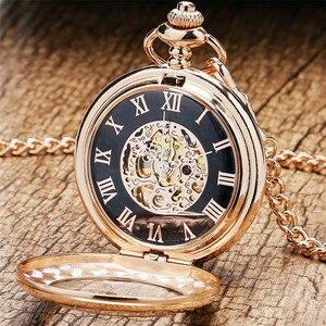 Image 2 - Antique Rose Gold Transparent Glass Roman Numerals Mechanical Hand Wind Pocket Watch Souvenir Pendant Clock Gifts Men Women