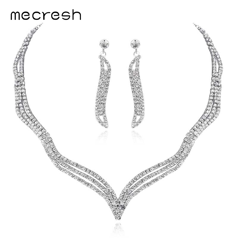 Mecresh Simple Crystal Bridal Jewelry Sets Silver Color Rhinestone Earrings Necklace Sets for Women Wedding Accessories TL296 5