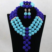 Sky Blue&White Wedding Party Jewelry Sets Luxury African Beads Popular Design Wholesale HB3005