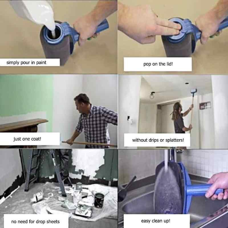 8 piezas caja de Color sin costuras Paquete de pintura de pared Runner Roller pintura cepillo herramientas uso doméstico pared decorativa DIY brochas conjunto