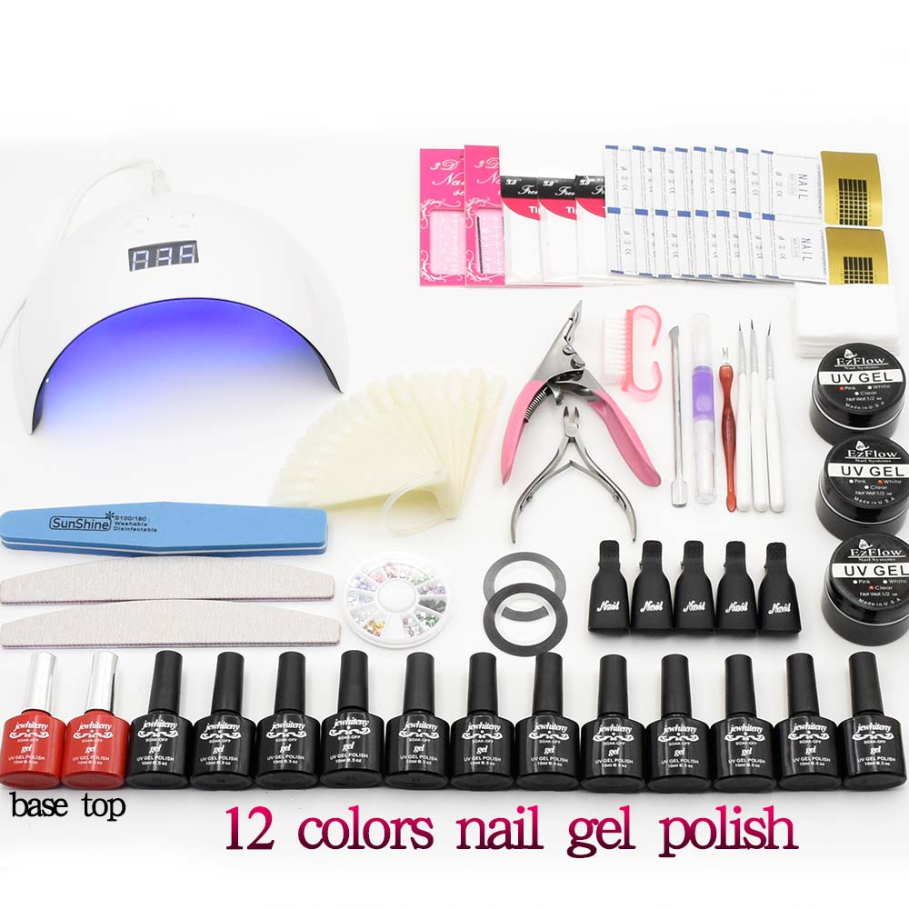 nail art kit set uv led lamp nail dryer 12 colors uv gel polish base top coat uv builder gel uv gel polish manicure set new 24w professional uv led nail gel lamp of resurrection nail polish tools and portable five soaked nail gel art decorating set