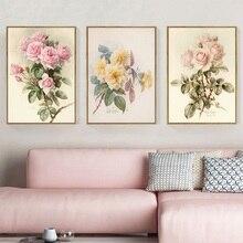 Европейский ретро цветок плакаты и принты украшение дома настенные художественные картины для гостиной Ностальгический пасторальный холст живопись