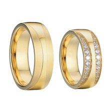 Alianzas clásicas juego de anillos de boda para parejas para hombres y mujeres CZ joyas de zirconio color dorado joyas de acero inoxidable