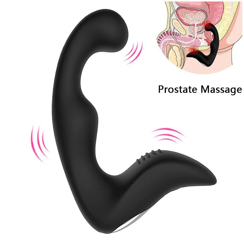 Velocidades 10 gelugee Masculino Próstata Massageador Vibrador Anal Silicone Butt Plug Brinquedos Sexuais para Homens Anal Brinquedos Masturbador Masculino para adulto
