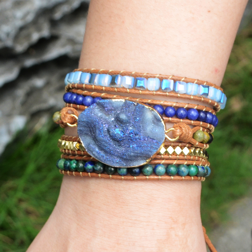 Blue Galaxy Crystal Handmade Boho Bracelets Bohemian Natural Stone Wrap Bracelet 5 strands Women Leather Bracelets Drop shipping in Wrap Bracelets from Jewelry Accessories