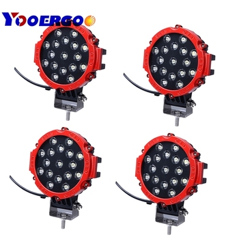 7 Inch 51W Car Round LED Work Light 12V High-Power 17 X 3W Spot For 4x4 Offroad Truck Tractor ATV SUV Jeep Driving Fog Lights
