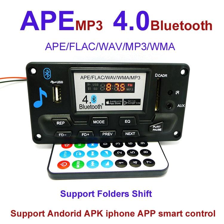 12V Lyric Show LCD Display Bluetooth MP3 Decoding Board Module SD/MMC USB FM Remote Folder Shift Switch LRC WMA WAV Decoder Kit