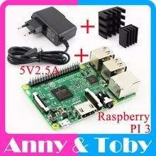 Raspberry Pi 3 Model B Board+Heat Sink+Power Adapter AC Power Supply.Rasp PI3 B,PI 3 B,PI 3B.1GB LPDDR2 Quad-Core WiFi&Bluetooth