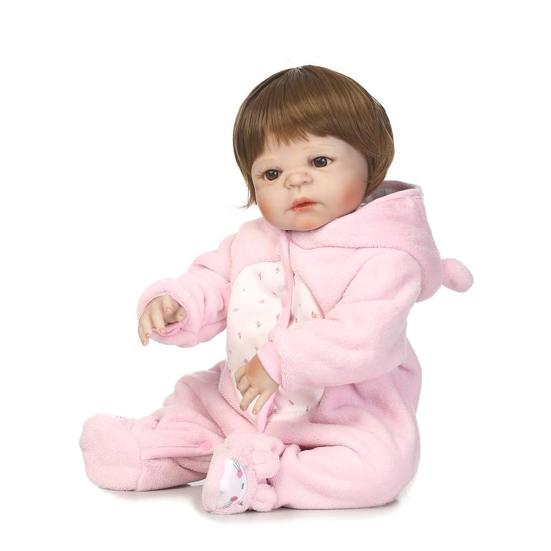 22'' bebe girl reborn bonecas handmade Lifelike Reborn Baby Doll toys Full Body Vinyl Silicone with Pacifier child gift