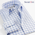 Смарт пять мужской бренд одежды мужчины рубашка с длинным рукавом slim-подходят узоры клетчатую рубашку Camisa Masculina