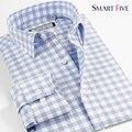 Inteligente cinco homens roupas de marca homens Camisa de manga comprida Slim Fit padrões de xadrez Camisa Camisa Masculina
