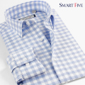 Smart Five Men's Brand Clothing  Men Shirt Long Sleeve Slim Fit Patterns Plaid  Shirt Camisa Masculina