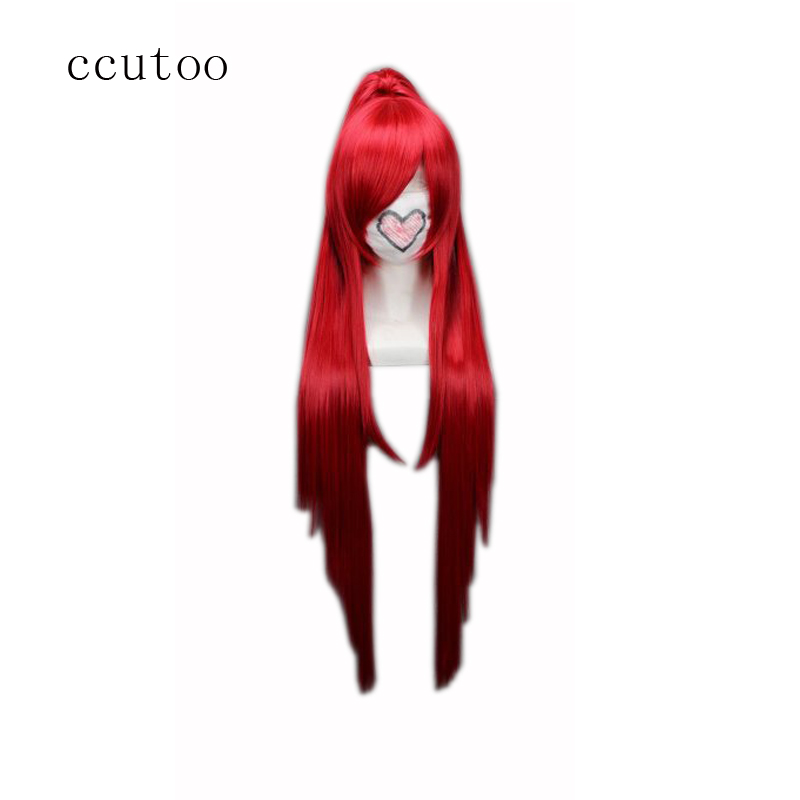 ccutoo Gurrenlagann-yoko Red Long Straight Chip Ponytail Cosplay Wigs Female's Party Halloween Heat Resistance Synthetic Hair