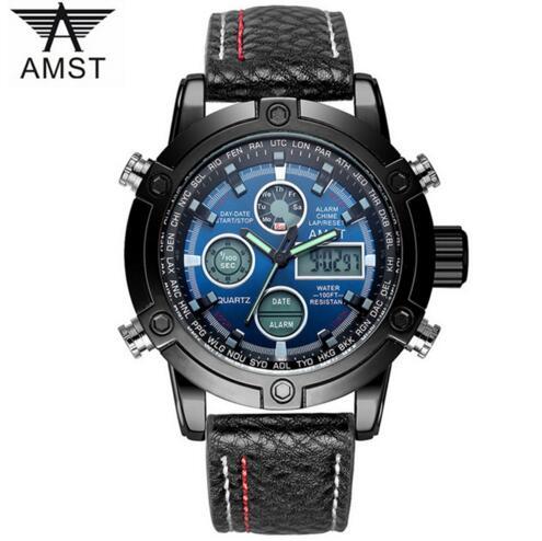 2018 Amst Marke Quarzuhr Für Männer Einfache Sport Led-anzeige Schwarz Leder Uhren Luxus Chronograph Wasserdicht Uhr 3022-2 Schmerzen Haben Dual-display-uhren