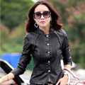M-3XL Plus Size Women Fashion Leather Jacket 2016 Autumn New female Skin Jacket Coat Female Buttons Stand Collar Fall Outerwear