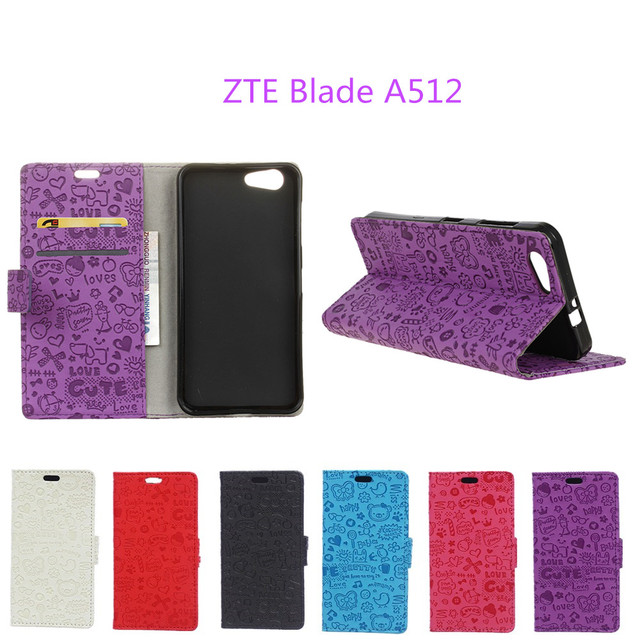 Hot Selling For ZTE Blade A512 Case Cartoon Wallet Style Phone Cover Case with Card Holder Fundas For ZTE Blade A512 A 512