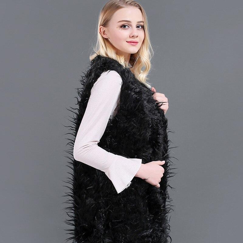 43fa7f8ece06 2018 Black Long Curl Women Faux Fur Vest Coat Winter Autumn Sleeveless  luster Fur Vest Coat For Female Slim Soft Warm Casual-in Vests   Waistcoats  from ...