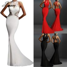 Womens Sexy Long Dress Halter Patchwork Hollow Fashion Sleeveless Cocktail Party Ladies