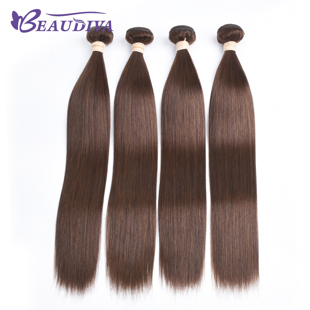 Beaudiva Brazilian Straight Human Hair 3 Bundles Deal 8 26inch 4 Light Brown Hair Weave Natural