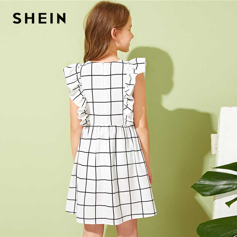 SHEIN Kiddie/милое белое клетчатое платье с оборками и проймой для девочек; коллекция 2019 года; летние короткие платья без рукавов на молнии с высокой талией
