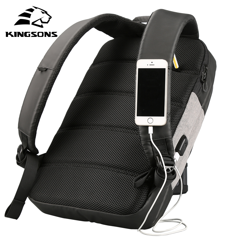 Kingsons 15 6 Inches Anti Theft Backpack Men Women Casual Daypacks USB Charging Laptop Sucking Business Teenager Travel Bags in Backpacks from Luggage Bags