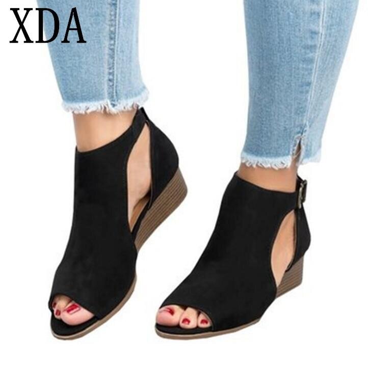 Damas Mujer Calzado De Sandalias Xda Verano Gamuza Romanas Cuña Las Tacón Zapatos Mujeres stdCQBrxh