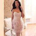 823f423a99b4 Vestidos de Coctel atractivos Feathe Profunda Backless V cuello Corto Mini  Club Del Partido Del Vestido Sexy Vestido Vestido de Cocktel Espalda ...