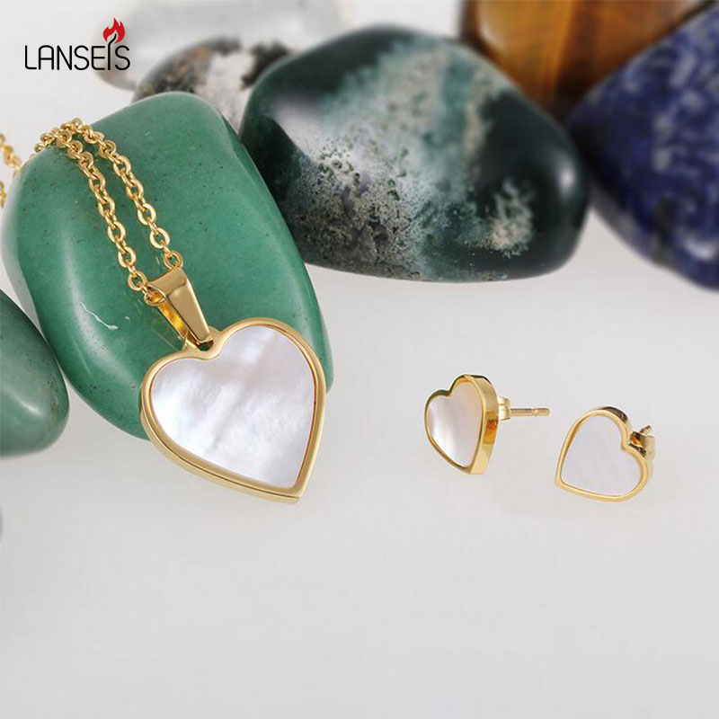 Lanseis Graceful Shell Beads LoveHeart Jewelry Sets Stainless Steel Christmas Gift,1Pcs Charm New Year Fashion Jewelry For Women graceful multilayered pentagram charm bracelet for women