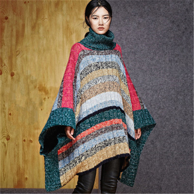 High End 100% Hand Made Pure Wool Turtleneck Knit Women Contrast Color Striped H-straight Cloak Sweater One&over Size