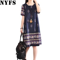 2017 New Summer Dress Fashion Printing Loose Large Size Women Long Dress Vestidos Robe Elbise