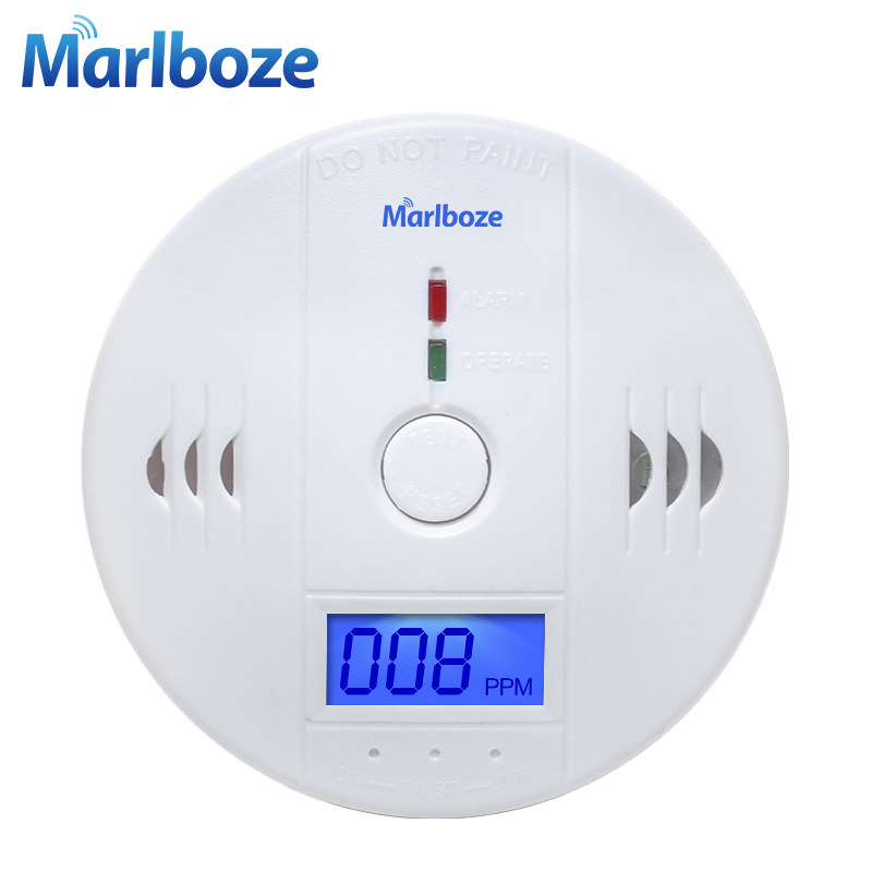 Aviso LCD de Alta Sensibilidade 85dB Fotoelétrico Independent Home Security Sensor de Gás CO Monóxido de Carbono Envenenamento Alarm Detector
