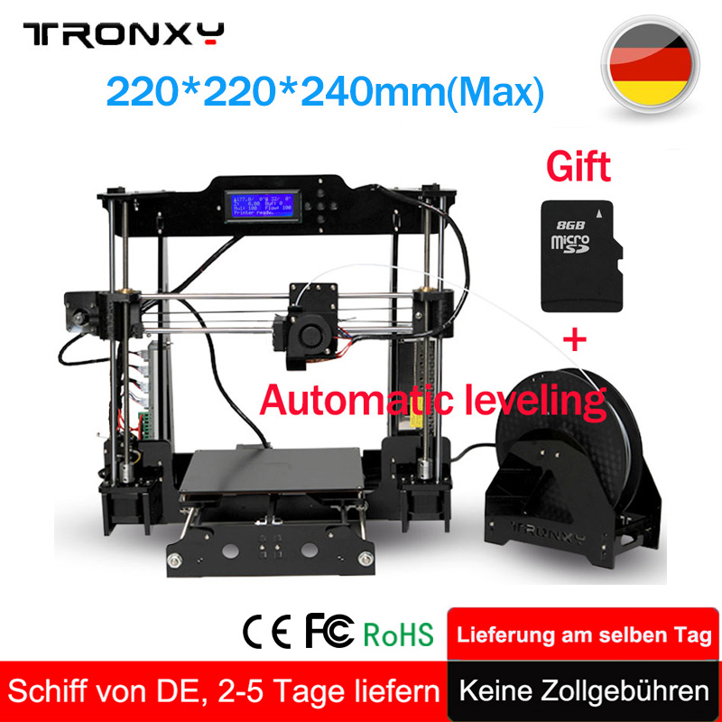 Tronxy Upgraded Quality High Precision Reprap 3D printer DIY kit extruder 3d printer Auto leveling +8GB SD Card 1 Roll Filament