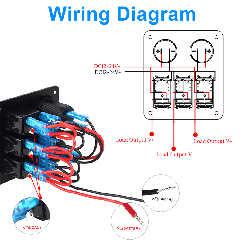 marine voltmeter wiring diagram for trailer mounted electric brake controller 3 gang ignition toggle rocker switch panel with led 4 2a dual usb charger socket adapter car boat vehicles in switches relays