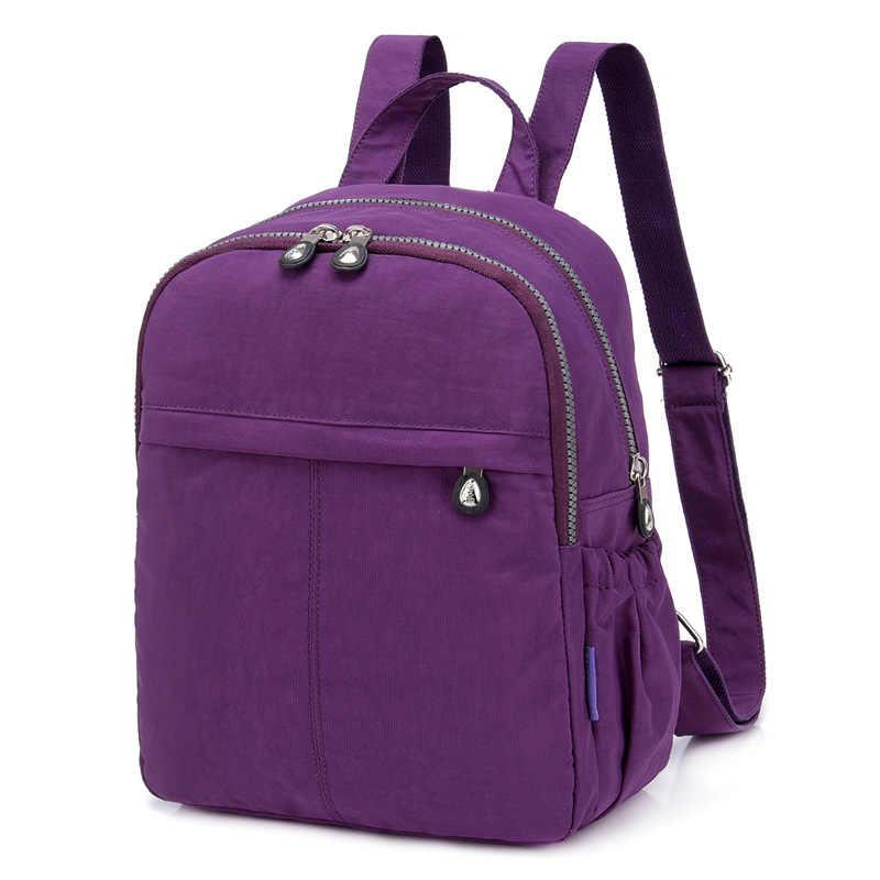 Ban đầu Thường Ngày Ba Lô đi học cho Thiếu Nữ Tuổi Teen Nữ Lưng Nylon Chống Nước Laptop có Túi ba lô Nữ Sắc MỘT Chính