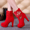 2016 new winter wedding shoes woman boors thick heel bridal shoes high heeled boots marry red women boots bride fashion boots