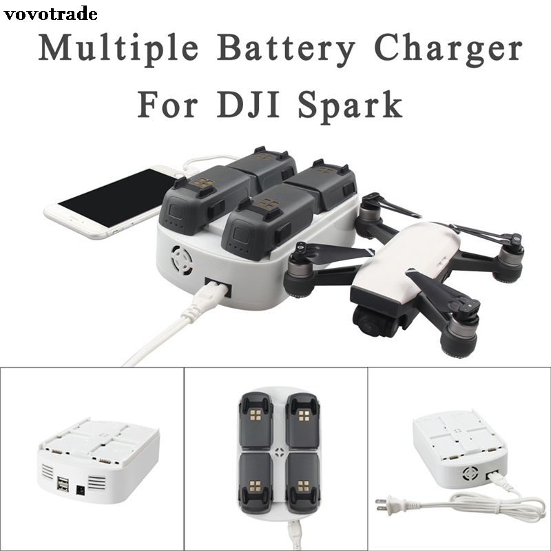 vovotrade RCGEEK 6 In 1 Updated Multiple Battery Charger Intelligent Flight Charging Hub NEW Accessories for DJI Spark Battery a dji spark battery charging hub drone charger charge part 7 black for intelligent flight battery original