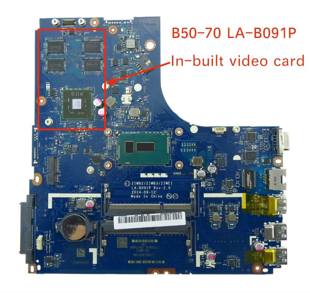 For Lenovo B50-70 Laptop Motherboard ZIWB2/ZIWB3/ZIWE1 LA-B091P with I3 CPU la 5971p for lenovo g455 laptop motherboard hd 4250m ddr2 free cpu