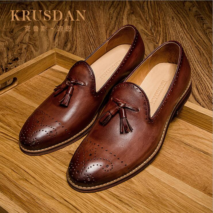 [krusdan]luxury Italian Retro Designer Red Brown Brogue Genuine Leather Slip-on Mens Formal Dress Party Office Wedding Shoes