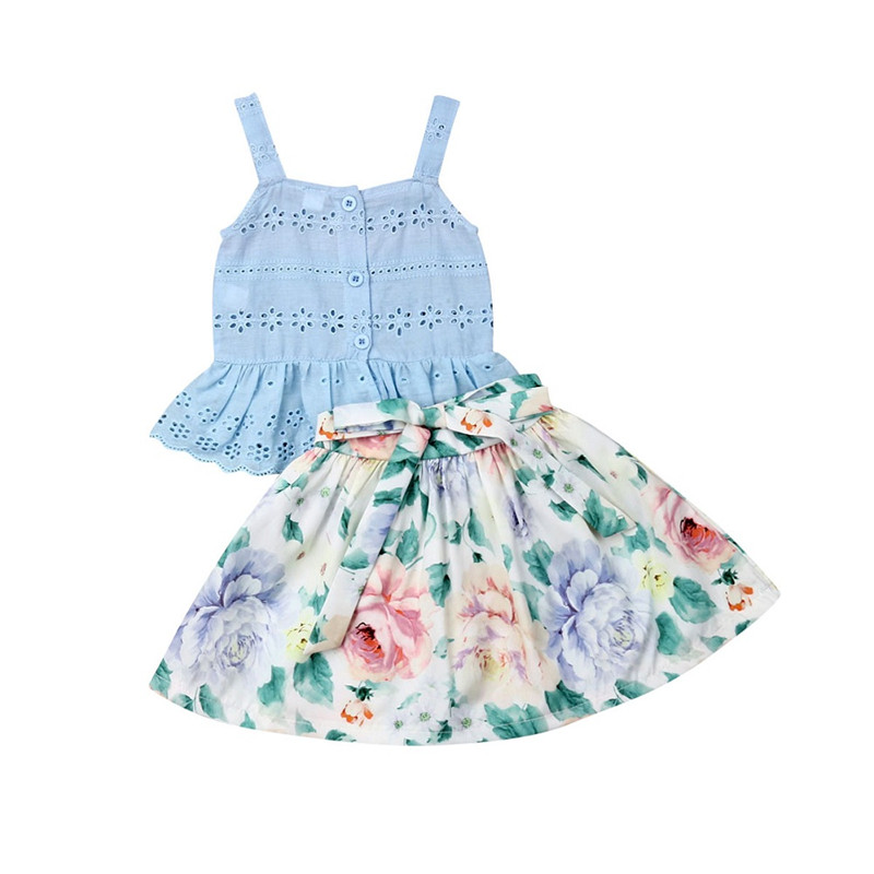 f4e5c1a06b Holiday Lovely Kids Baby Girl Outfits Sling Lace Vest Tank Tops Floral Bow  Skirts A-