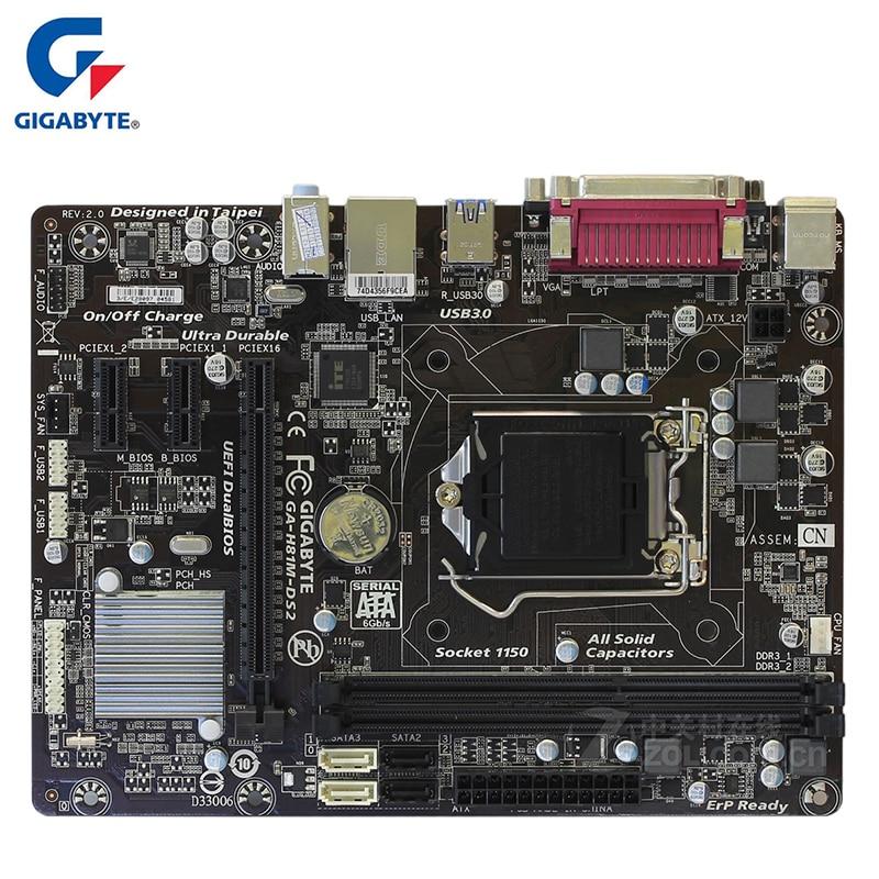 Gigabyte GA-H81M-DS2 Motherboard For Intel H81 DDR3 USB3.0 16GB LGA 1150 H81M DS2 Desktop Mainboard Systemboard Used SATA III материнская плата gigabyte ga h81m ds2