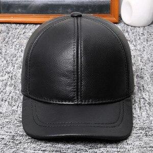 Image 5 - SILOQIN الشتاء الدافئة الرجال قبعات جلد طبيعي جلد البقر الطبيعي البيسبول قبعات جديد قابل للتعديل حجم الماركات منتصف العمر اللسان قبعة