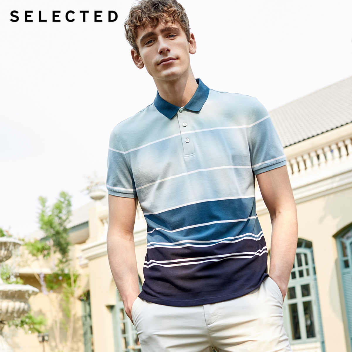 SELECTED Men's Summer Striped Turn-down Collar Short-sleeved Polo S|419206513